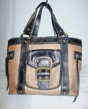 COACH LEGACY Brown WOVEN Straw w/ Black Leather Trim Tote Bag Size M/L