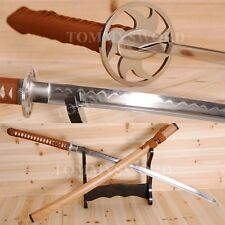 Handmade Katana Damascus Clay Tempered Full Tang Samurai Sword Iron Tsuba Sharp