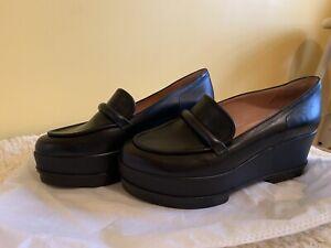 Robert Clergerie black leather platform wedge shoes loafers oxfords EU38