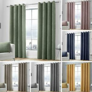 Chenille Eyelet Curtains Cord Plain Ready Made Lined Ring Top Curtain Pairs
