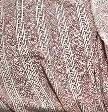 Crepe de Chine Fabric - Red & White FLORAL STRIPE 1/3 yd remnant