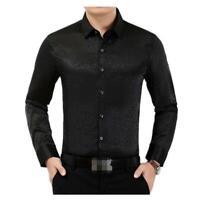 Herrenmode Freizeithemd Leopard Brokat Satin Shirts Langarm 4XL Hemd Neu Party D