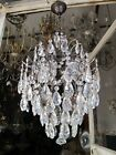 """Antique French Cage Style Bohemia Crystal Chandelier Ceiling Lamp 1940's 15"""" Dmt"""