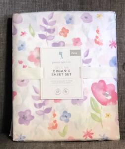 Pottery Barn Kids Delilah Sheet Set Pink Full Floral Flowers 4pc Organic Cotton