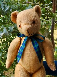 Old vintage antique teddy bear 56cm fully jointed mohair stuffed with Kapok