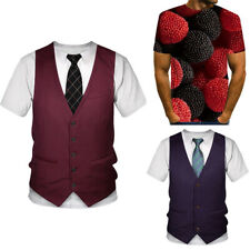 Suit Tie Tuxedo 3d T Shirt Mens Summer Casual Short Sleeve Tops Graphic Tees Hot