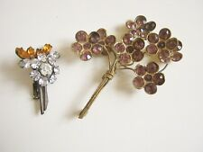 lot anciennes broches bouquet fleur strass old brooch flowers basket rhinestones