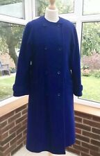 Windsmoor Cobalt Blue Pure New Wool Collarless Long Coat , Size 12 , Excellent
