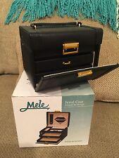 Mele & Co. Black Leatherette Jewel  Travel Jewelry Case Jewel Box with Mirror