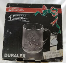 Duralex Versailles Clear Glass Christmas Tree Mugs Cups11.5 oz Set of 4 VTG