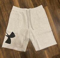 NEW Under Armour Men's UA Rival Fleece Logo Shorts Grey XL Brand New Athletic