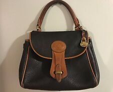 "Vintage Dooney & Bourke ""Medium Essex Carrier"" Black AWL Leather Hand Bag, Rare"