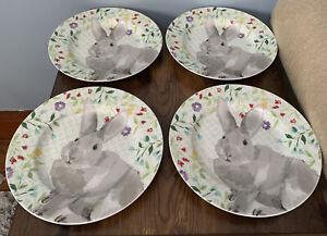Martha Stewart Easter Bunny Rabbit Plates Dessert Lunch Salad Flowers Macys $59