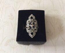 Vintage Design Crystal Statement Ring Size L