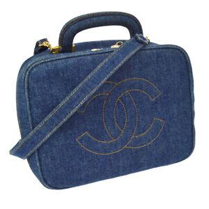 Authentic CHANEL CC Logos 2way Cosmetic Hand Bag Indigo Denim Vintage BA01757e