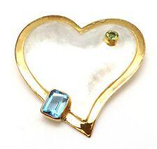 MICHOU Baby Blue Topaz & Peridot Green Sterling Silver & Gold Heart Broach Pin