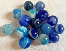 16 Vintage Blue Swirl Glass Marbles Turquoise to Navy with White
