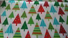 New-100% Cotton Robert Kaufman  Jingle Multi Colour Christmas Trees Design