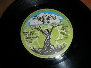 """Dennis Brown Money In My Pocket Parts 1 & 2 7"""" Single 1979 Lightning LIG 554"""