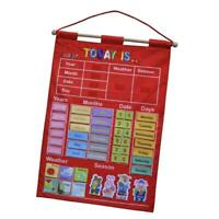 """17.12x25"""" Learning Calendar with Weather Station Season for Kids Early Education"""