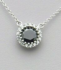 .925 Sterling Silver Black CZ Halo Pendant Necklace
