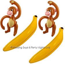 2 Inflatable Blow Up Monkey + Banana Hawaiian Tropical Jungle Party Decorations