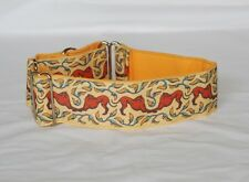 """2"""" Martingale Dog Collar Bowing Greyhounds - Rust, Blue & Gold"""