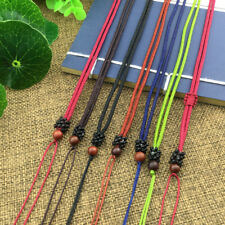 DIY Hand Woven Braided Wood Round Beads String Rope Cord Pendant Necklace6Colors