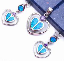 """BLUE FIRE OPAL & AMETHYST HEART .925 Sterling Silver Earring & Pendant Set 1"""""""
