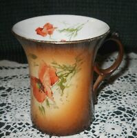 Antique Warwick China Ombre Brown Poppy Flowers Cup Stylized Handle