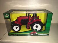 """RED PLASTIC 6"""" FRICTION TOY FARM TRACTORS NEW BOXED"""
