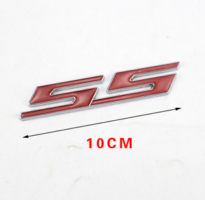 1x Bolt on 3D Metal Chrome Red SS Front Black Emblem Badge For All Grill Grille
