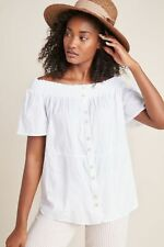 Anthropologie Lucille White Off-The-Shoulder Blouse Top Size XS