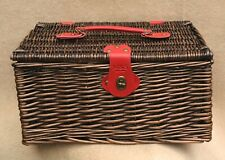 "MARKS & SPENCER Small Dark Brown Wicker Basket Red Handle Trims 15"" x 12"" x 8"""