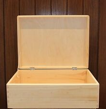 Large Wooden chest  storage box plain pine40x30x14cm SD140B