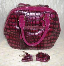 Purple Tote Bag with Crocodile Embossing & a Detachable Shoulder Strap