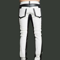 Men's Real Cowhide Leather Pants Jeans Trouser White and Black Panel  Biker Pant