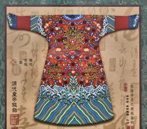Dramatic Vintage Chinese hand-crafted embroidered imperial silk costume in frame