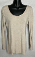 LOFT Women's Top Size XS Beige Long Sleeve Shirt Scoop Neck Blouse Pullover NWOT