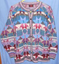 MINKHA Bolivia 100% Alpaca Multicolor Geometric Cardigan Sweater S