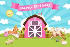 7X5FT Vinyl Studio Backdrop Cartoon Design Farm Happy Birthday Photo Background
