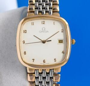 Mens Omega DeVille 18K Gold plated & SS Watch - Square White Dial