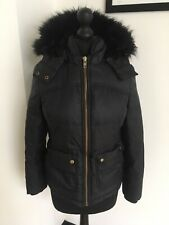 Jack Wills Black Puffa Coat Size 8 Fur Hood