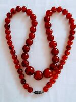 SUPER LONG GRADUATED STRING OF AMBER COLOURED BEADS NECKLACE  40 INCH LONG