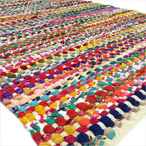 3 X 5 ft Multicolor Colorful Chindi Woven Area Rag Rug White rug Braided Boho Ch