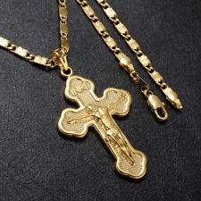 Damen Herren Kette mit Anhänger Kreuz Echt 999er Gold 24 Karat vergoldet 60cm