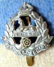 Badge- WW1 East Lancashire Regiment Cap Badge KC (Bi-Metal, Org*) Long Slider