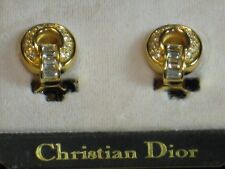 CHRISTIAN DIOR SIGNED CLIP EARRINGS DOOR KNOCKER GOLD/CRYSTALS/PAVE, RARE, NEW!
