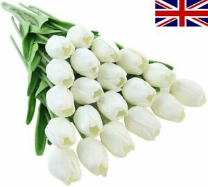 10Pcs Artificial Tulips Latex Real Touch Flower Bouquet Wedding Home Decor UK