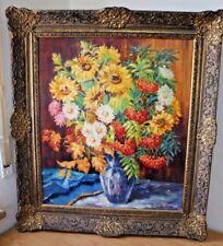 Ölbild auf Holz signiert D. Holzner 1989 Barock Stil Rahmen Blumen Stillleben